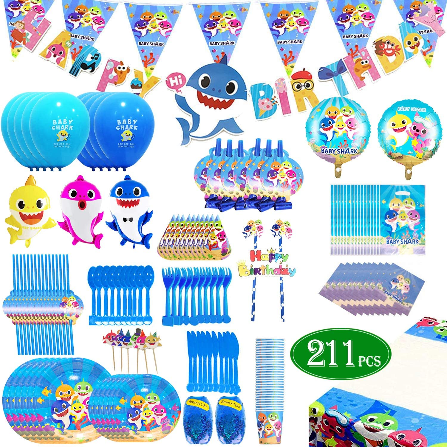 Shark Baby Party Supplies theme Set 211Pcs – Habbipet Sharks Ocean Themed Birthday Parties Decorations Includes Disposable Tableware Kit - Serves 16 Guest