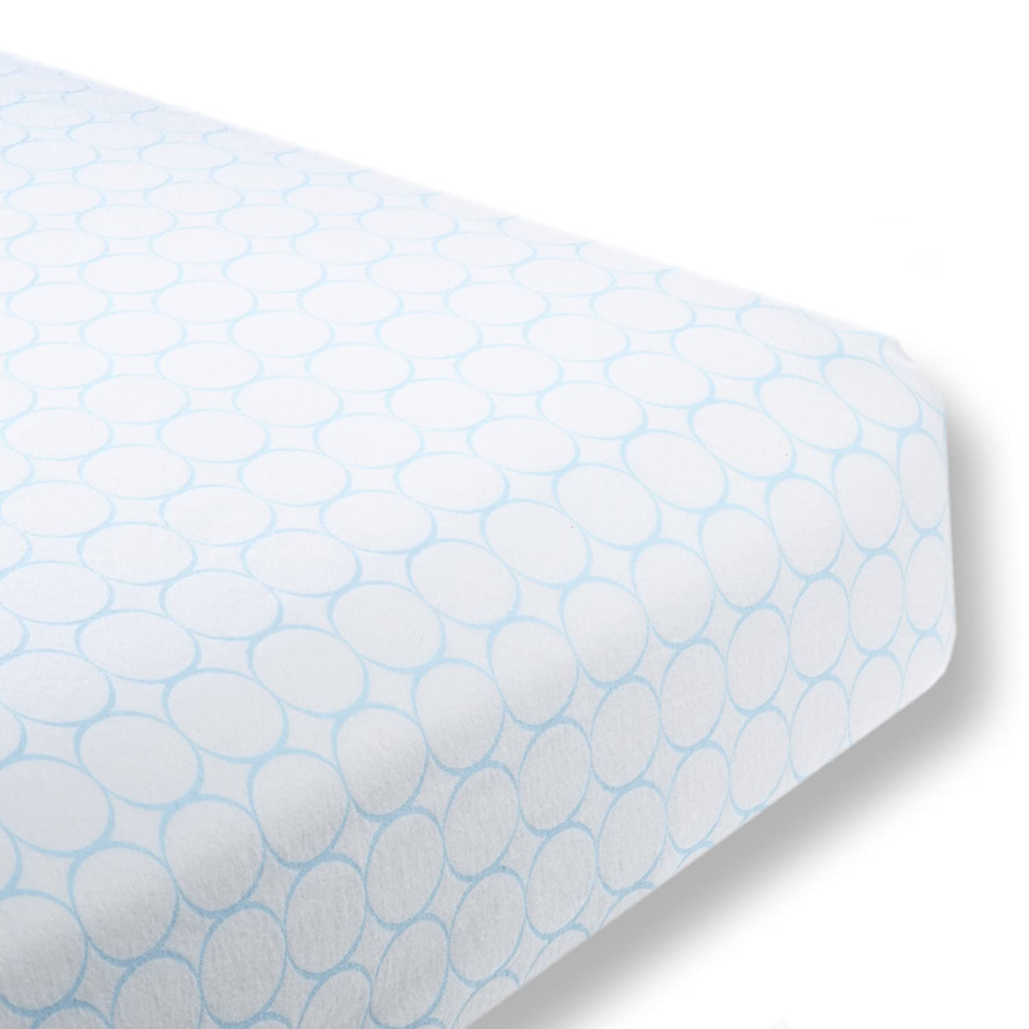 SwaddleDesigns Cotton Crib Sheet, Made in USA, Premium Cotton Flannel, Pastel Blue Mod Circles