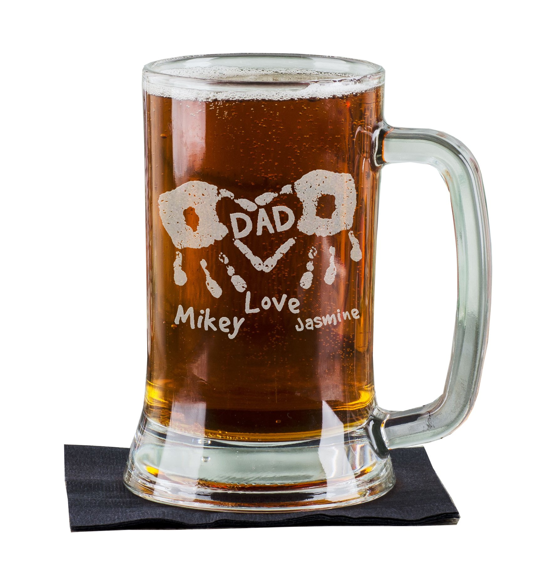 16 Oz Hand Prints Love Dad Etched Glass Beer Mug Stein Father Day Engraved with Kids Names Etched Daddy Father New Dad