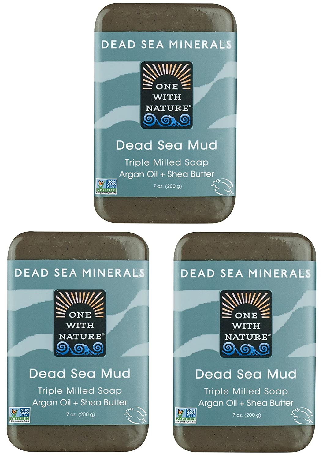 DEAD SEA Salt Mud SOAP 3 PK, Dead Sea Salt, Shea Butter, Argan Oil, Magnesium, Sulfur, Mineral Soap. All Skin Types, Problem Skin. Acne, Eczema, Psoriasis, Natural, Therapeutic, Antibacterial - 7 oz