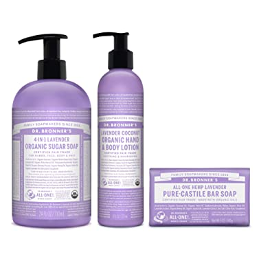 Dr. Bronner's 3-Piece Organic Lavender Gift Set - (1) Sugar Pump Soap 24-Ounces, (1) Body Lotion, (1) Castile Bar Soap