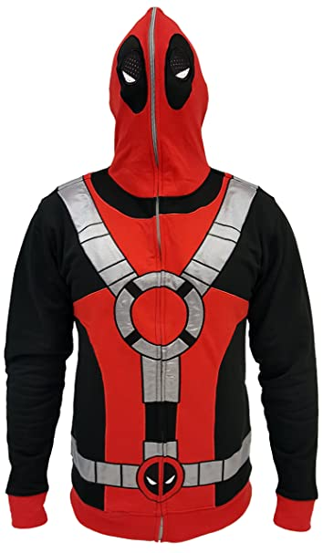 Marvel Deadpool Suit Zip Up Costume Hoodie (Adulto XX-Grande ...