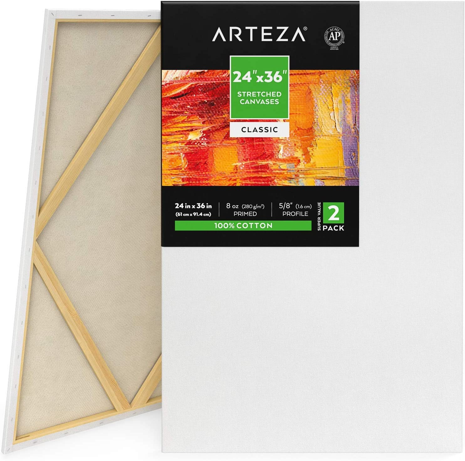 """Arteza 24x36"""" Stretched White Blank Canvas, Bulk Pack of 2, Primed, 100% Cotton for Painting, Acrylic Pouring, Oil Paint & Wet Art Media, Canvases for Professional Artist, Hobby Painters & Beginner"""