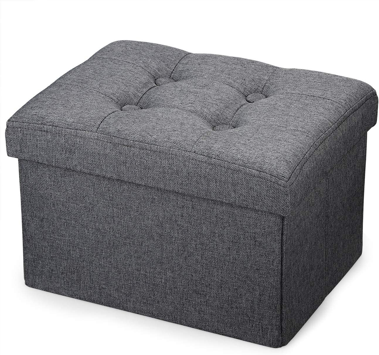 Vigamimn Small Ottoman Foot Rest Stool Short Foot Stools Foldable Ottoman Stool Linen Fabric Folding Storage Ottoman Thicker Foam Especially for Foot Rest
