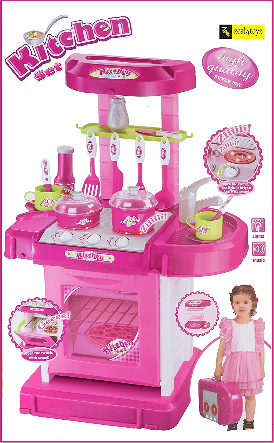 Zest 3 Toyz Kitchen Set Kids Luxury Battery Operated Kitchen Super Set Toy   Kitchen Set for Kids Girls - Pink