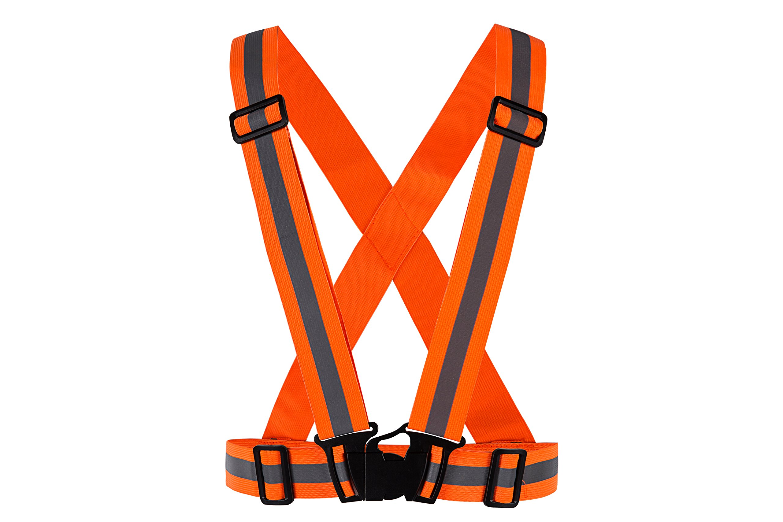 Meyerglobal Reflective Vest, High Visibility, Safety Adjustable Belt Regular Size (5piecesOrange, Regular Size)