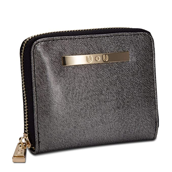 Womens Small Compact Leather Wallet Ladies Soft Glitter Coin Purse(Black) 0f5cce56e
