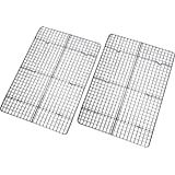 """Checkered Chef Cooling Rack - Set of 2 Stainless Steel, Oven Safe Grid Wire Racks for Cooking & Baking - 11 ¾"""" x 17"""""""