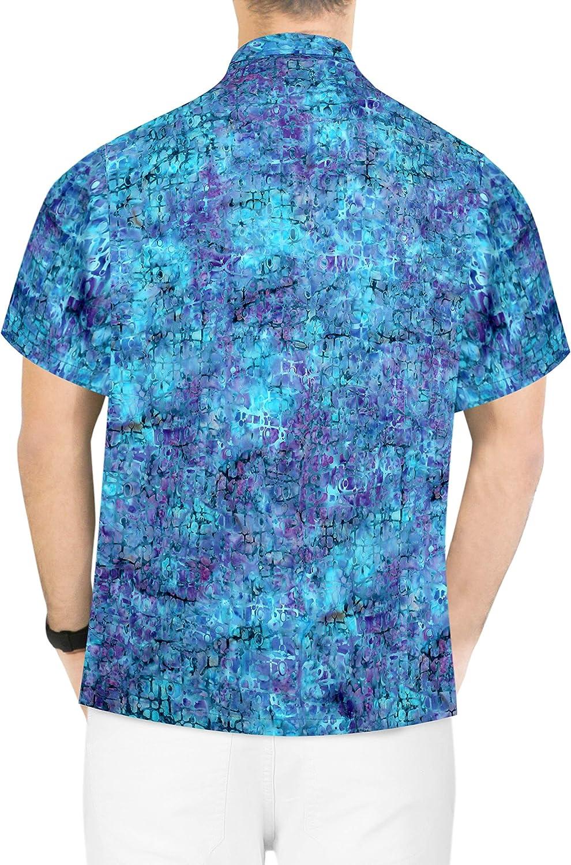 LA LEELA Mens Aloha Hawaiian Shirt Short Sleeve Button Down Casual Beach Party Blue