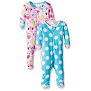 Gerber Baby Girls' 2-Pack Footed Unionsuit, Owls/Big dots, 3 Months
