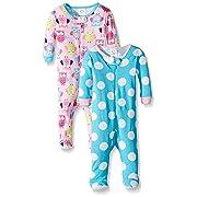 Gerber Baby Girls 2 Pack Footed Sleeper, Owls/Big dots, 3 Months