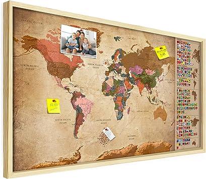 Solide Halterung Top Deko Idee fürs Zuhause /& Büro Kork Korkwand Kontinente Lernkarte Welt XL Format: 100x50 cm Pinnwand Weltkarte 3D Naturholz Rahmen decomonkey Design Welt: Europa vergrößert!