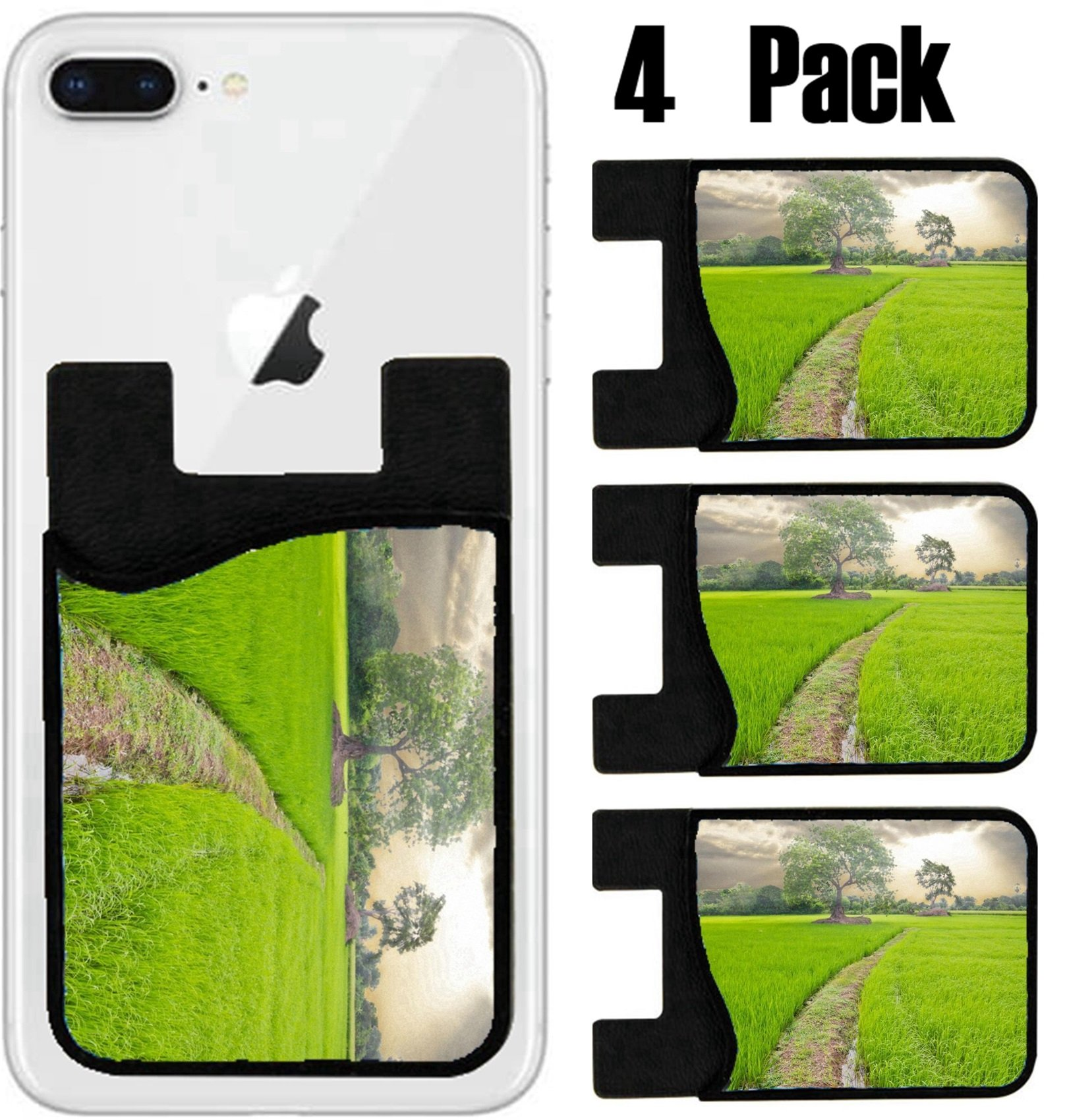 MSD Phone Card holder, sleeve/wallet for iPhone Samsung Android and all smartphones with removable microfiber screen cleaner Silicone card Caddy(4 Pack) IMAGE ID 30715275 rice field