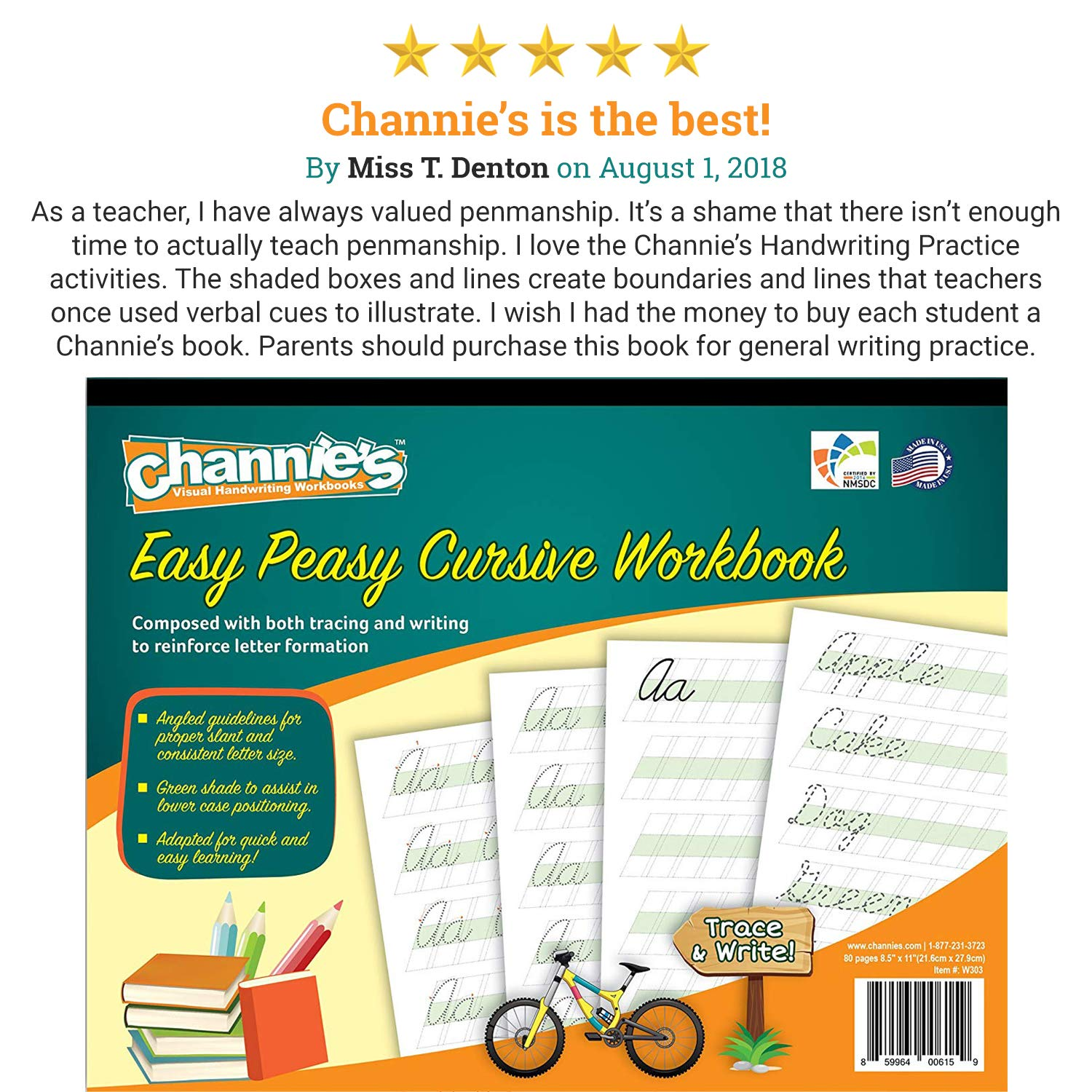 Most Visual Cursive Workbook! Simple & easy  Channie's Easy Peasy Cursive  workbook 80 pages 8 x 11 5 with hardboard back learn Cursive never be