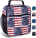 Insulated Reusable Lunch Bag for Women Men Kids-Leakproof Durable Cooler Lunch Box with Multi-Pockets & Detachable Buckle Handle Fits Office Work School Picnic-American Flag