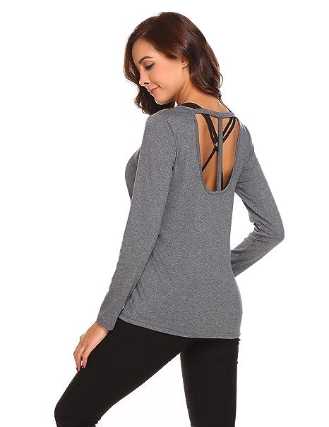 a4c5d0742872ca Misakia Women's Long Sleeve Open Back Hollow Out Top T-ShirtTee(Grey ...