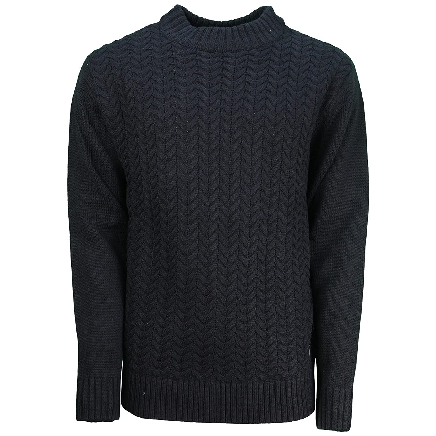 Mens Soulstar Designer Cable Knit Turtle Neck Juer Long Sleeve Casual Jumper