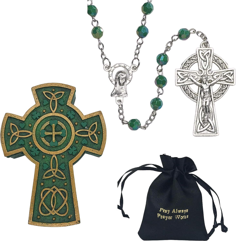 Holly Lines Irish Rosary Celtic Cross Jewelry Box Satin Bag and St. Patrick Card, Celtic Cross Catholic Rosary with 6 mm Emerald Acrylic Beads Celtic Cross Keepsake Box Black Satin Pouch and Holy Card