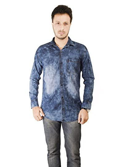 d05baa98abf Mitra Creations Funky Wash Denim 1EE Full Sleeves Casual Shirt for Men-DENCO360  WASHDLEE-