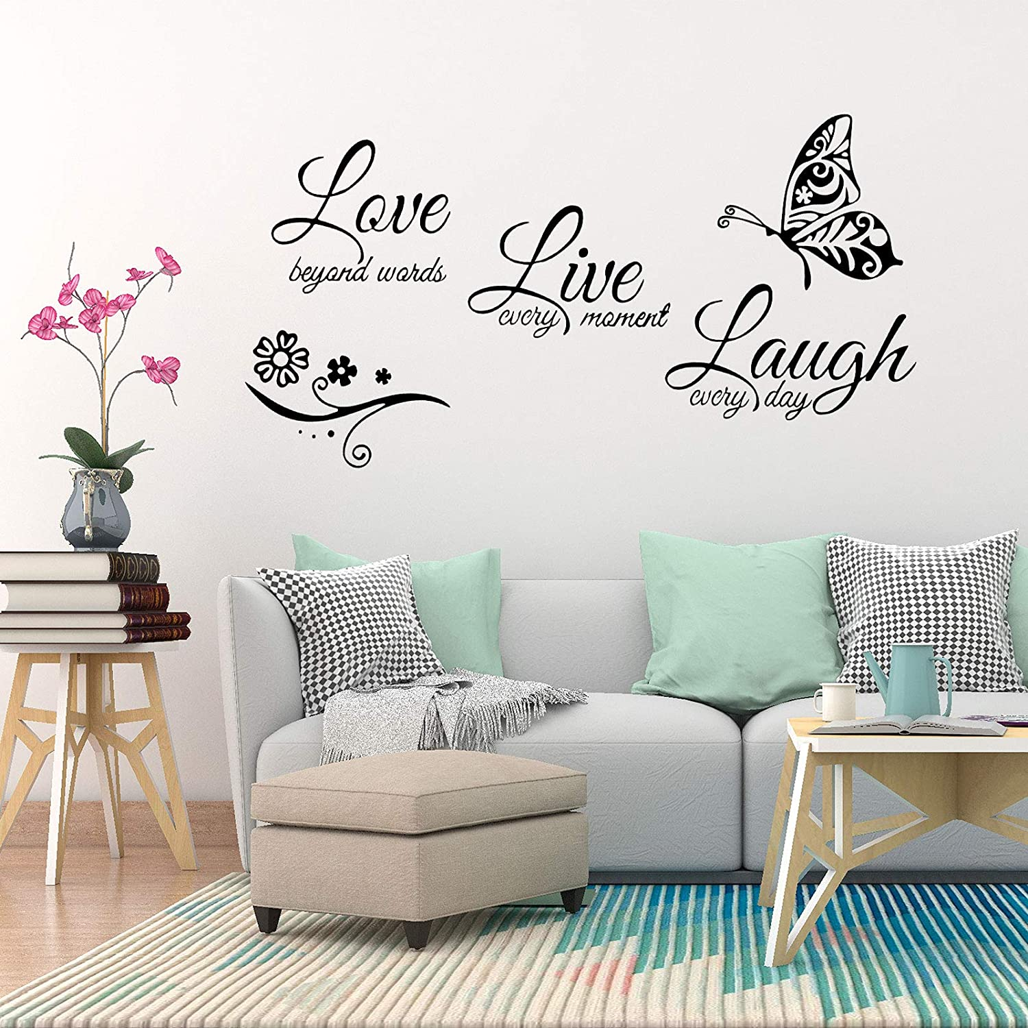 OOTSR Wall Sticker Decor, Live Laugh Love Wall Stickers, Wall Decals for Home Art Decor Ceiling Wall Decorate Bedroom Decorations