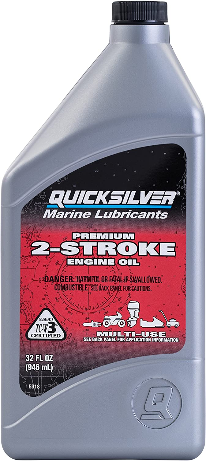 Quicksilver 858021Q01 Premium Two-Cycle TC-W3 Oil - Outboards, Personal Water Craft (PWC's), Snowmobiles, Motorcycles and Chainsaws, 1 Quart Bottle