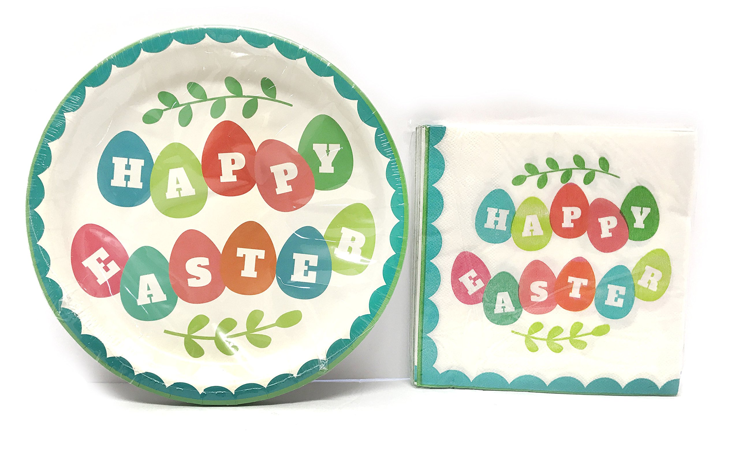 Easter Egg Happy Easter Party Paper Plates Party Supplies Disposable Set: 18 Round Paper Plates, 8.75 inches, 18 Lunch Napkins, Coordinating Set