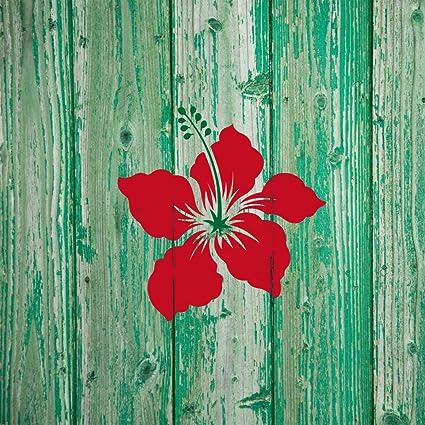 Amazon.com: J BOUTIQUE STENCILS Small Hibiscus Wall Art Stencil for ...