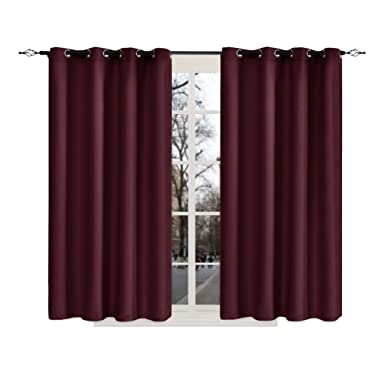 Blackout Window Curtain Panels for Bedroom Living Room Top Grommet Weave Thermal Insulated Curtain by Chunyi -Set of 2 (52x63 Inch, Wine)
