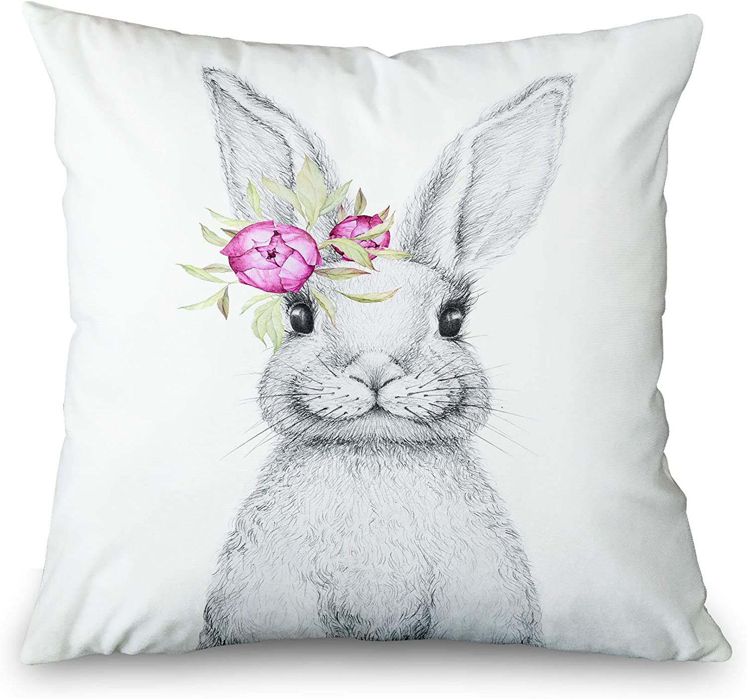 Toobaso Easter Bunny Decorations Pillow Covers 18x18 Cute Rabbit Animal Home Decor Pillowcases Easter Baby Kids Gift Throw Cushion Cover for Living Room Sofa