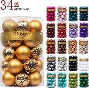 "KI Store 34ct Christmas Ball Ornaments Shatterproof Christmas Decorations Tree Balls for Holiday Wedding Party Decoration, Tree Ornaments Hooks Included 2.36"" (60mm Gold)"