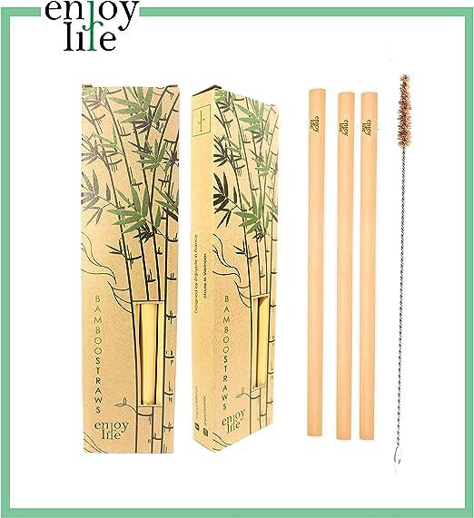 Enjoy Life 10 pajitas Reutilizables de bambú 20 cm + Cepillo de ...