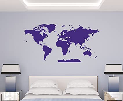 Amazon Com World Map Decal Extra Large Easy To Apply Vinyl Wall
