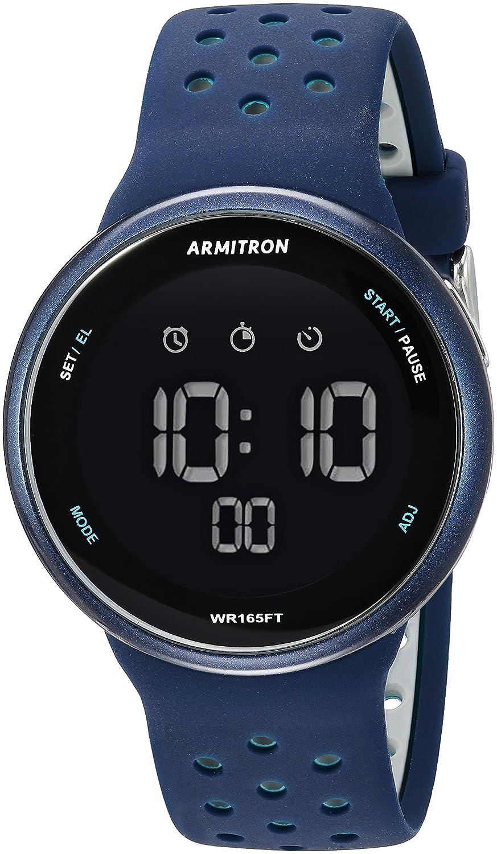 Armitron Sportユニセックス40 /8423nvy Grey Accented Digitalクロノグラフ海軍ブルーシリコンストラップウォッチ B078XYCTN3