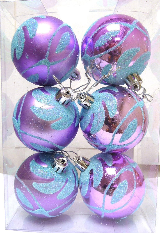 Christmas Purple Lilac Aqua Blue 6cm Baubles 6 Pack Amazoncouk Kitchen Home