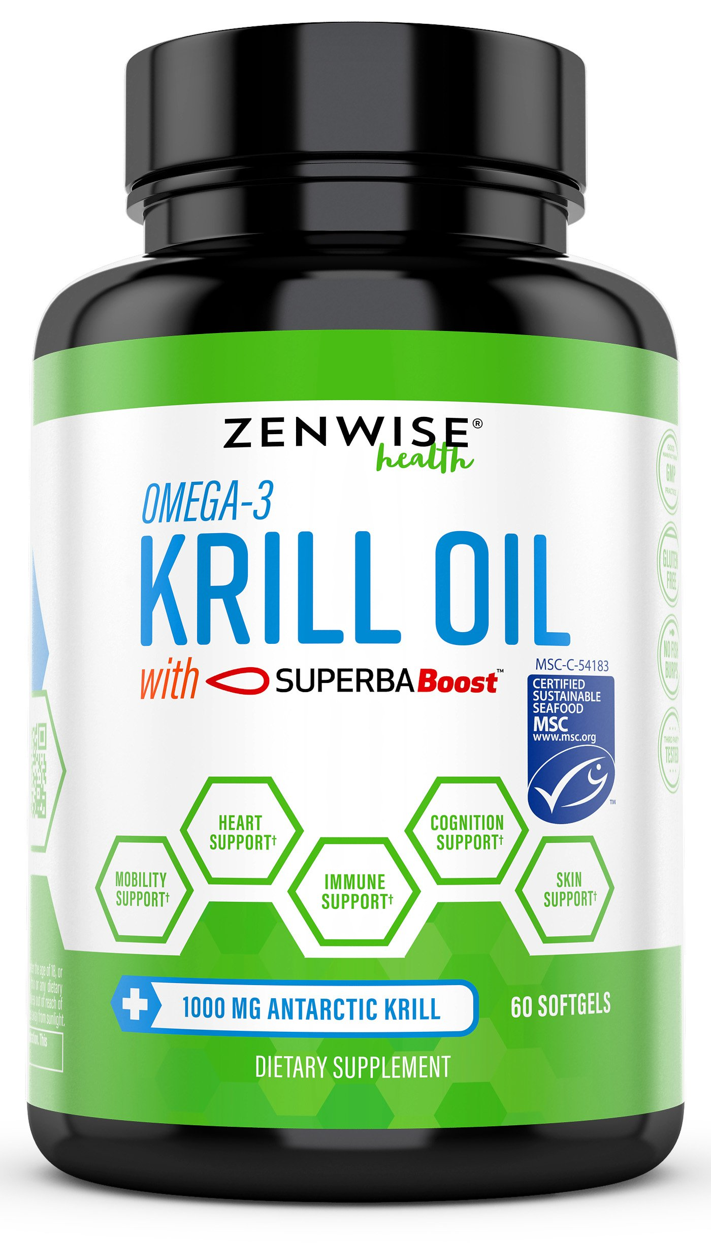 Omega 3 Antarctic Krill Oil 1000mg - MSC Certified Sustainable SuperbaBoostTM - With EPA & DHA Fatty Acids & Astaxanthin - Heart, Brain, Skin, Joint & Immune Support - 60 Softgels by Zenwise Health