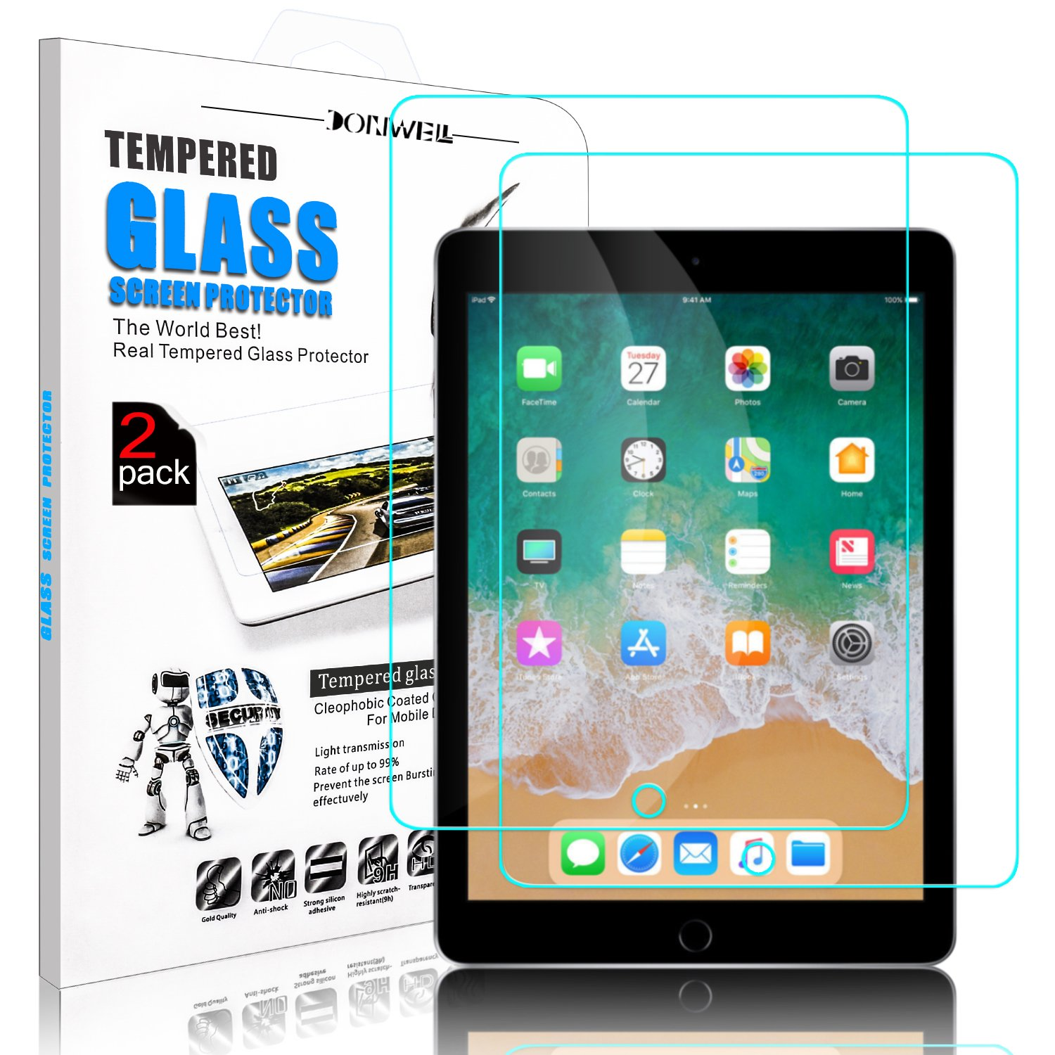 [ 2 Pack ] DONWELL iPad 9.7 2018 Screen Protector Bubble Free Anti Scratch Tempered Glass Protective Cover for Apple iPad 5 5th/6 6th generation/iPad Pro 9.7 Model A1823 A1822 9.7 inch