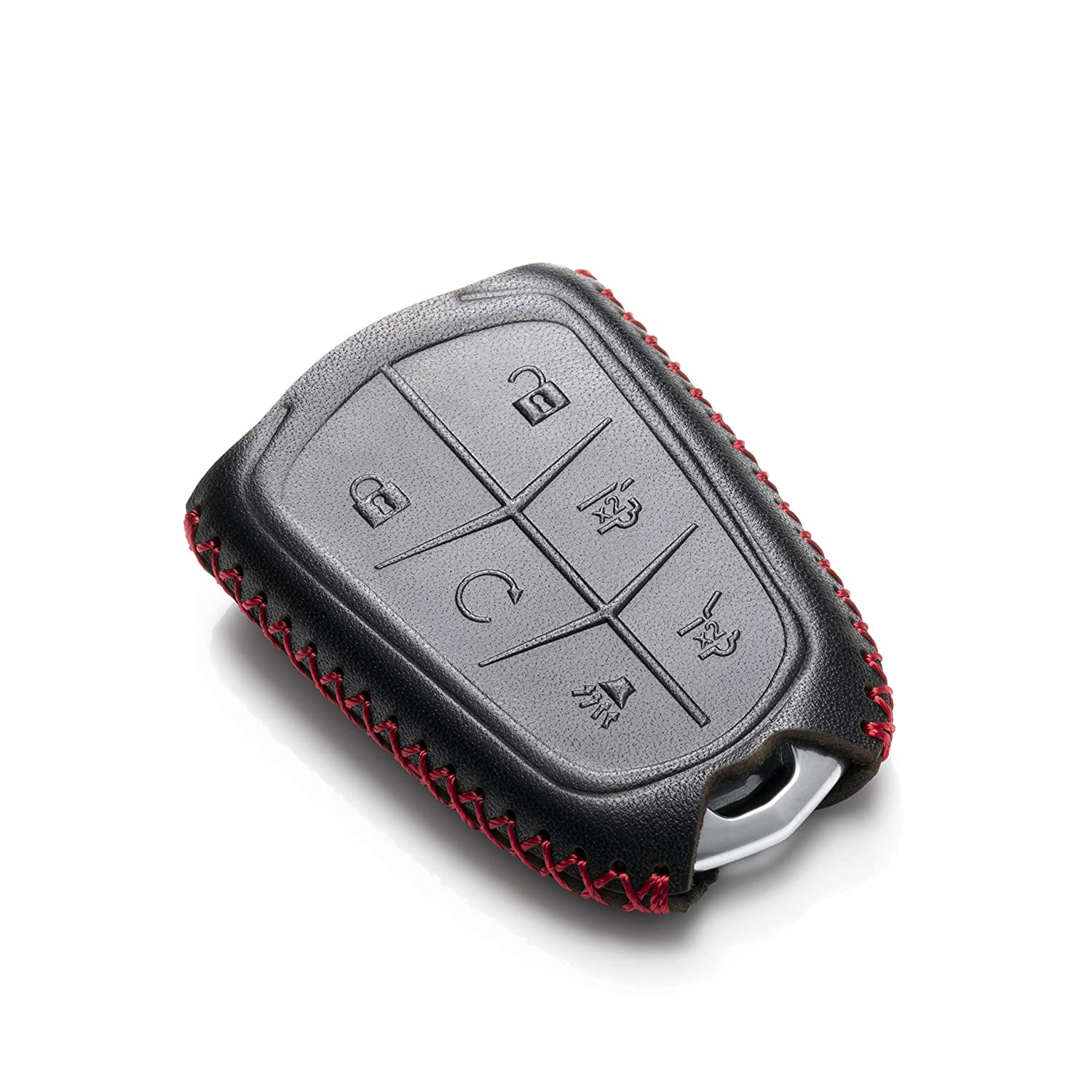 Escalade ESV 6 Buttons, Black Vitodeco Genuine Leather Smart Key Keyless Remote Entry Fob Case Cover with Key Chain for 2015-2019 Cadillac Escalade