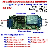Qianson DC 5V 12V 24V Digital LED Display Infinite Cycle Delay Timer Switch ON/OFF Relay Module (DC 12V)