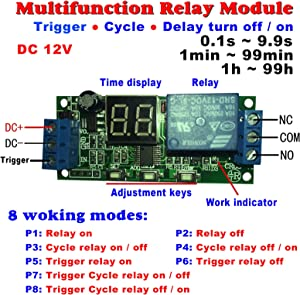 geree dc 12v cycle delay module cycle relay switch relay module 1 rh amazon com 4 Pin Relay Wiring Diagram Electric Fan Relay Wiring Diagram