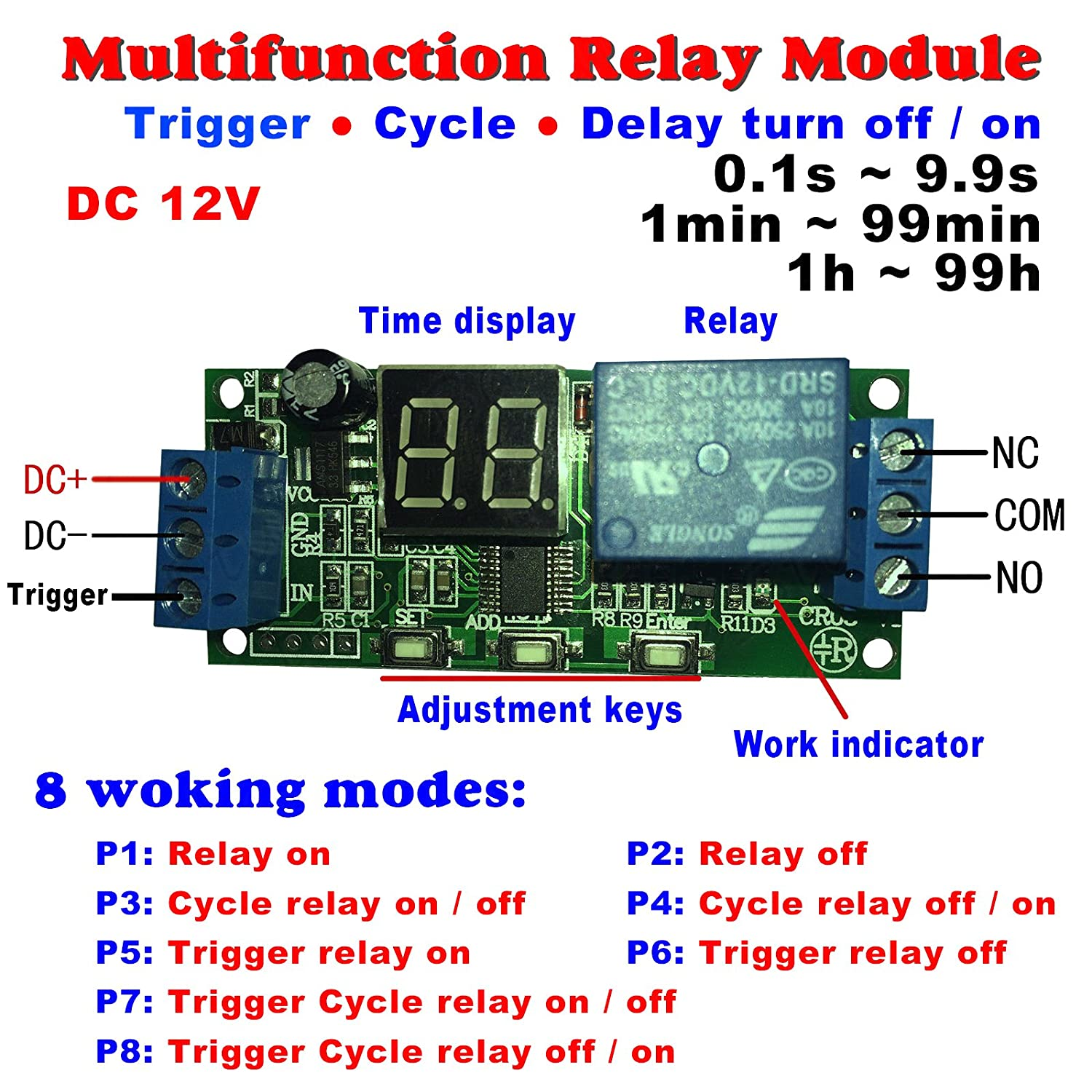 Qianson Dc 5v 12v 24v Digital Led Display Infinite Cycle Delay Timer Switch Wiring Diagram On Off Relay Module Home Improvement