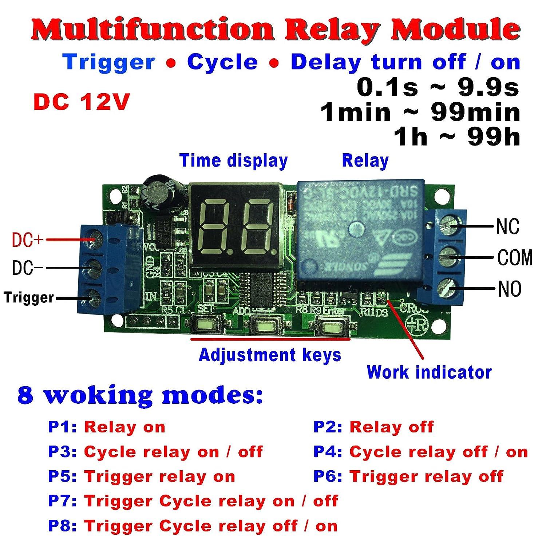 Qianson dc 5v 12v 24v digital led display infinite cycle delay qianson dc 5v 12v 24v digital led display infinite cycle delay timer switch onoff relay module dc 12v amazon sciox Gallery