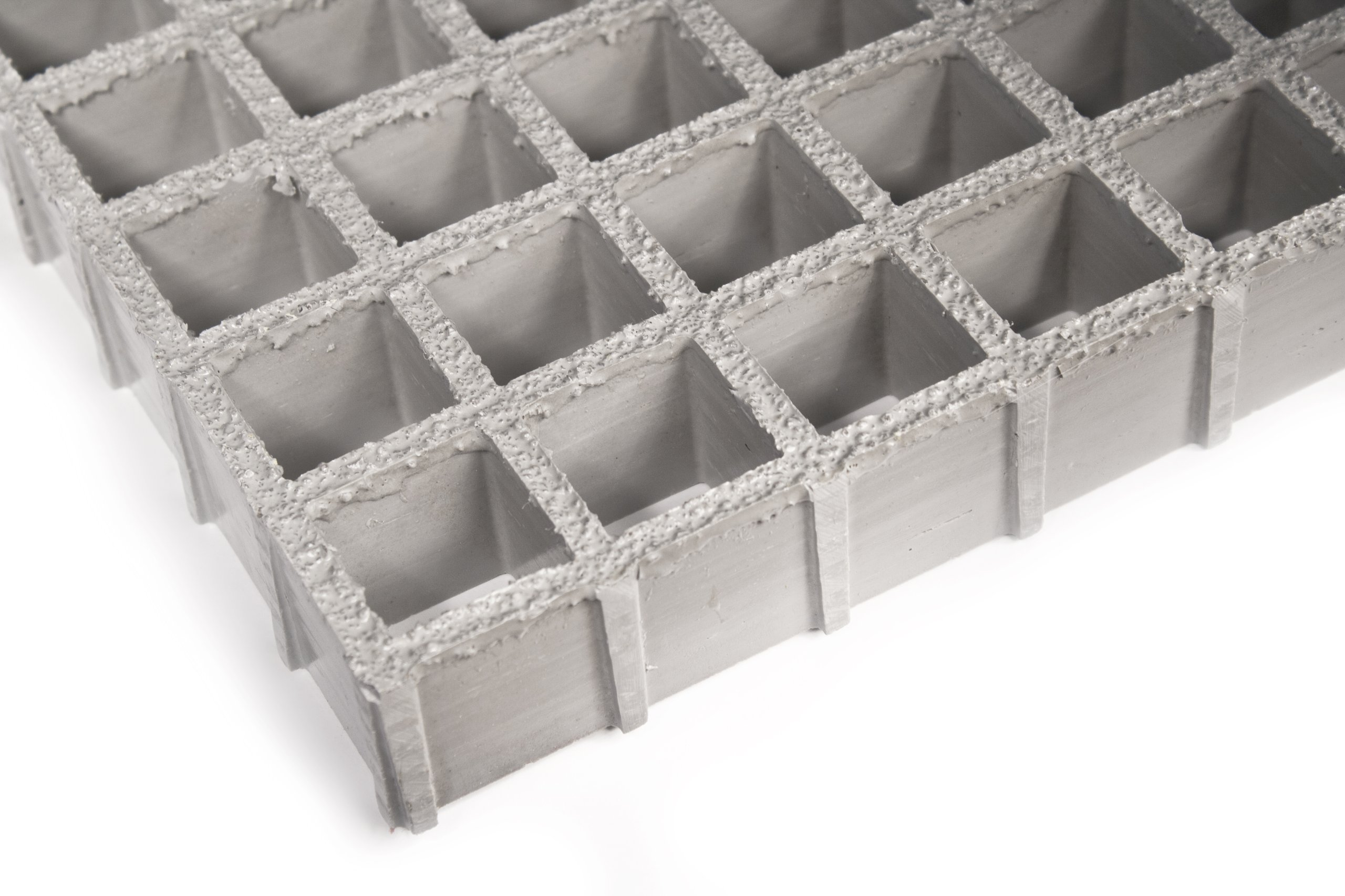 Fiberglass Grating, Standard Tolerance, Gray, Antimicrobial Grit-Top/Slip Resistant/Fire Retardant, 1'' Thickness, 4' Width, 4' Length, 1-1/2'' x 1-1/2'' Openings by Small Parts