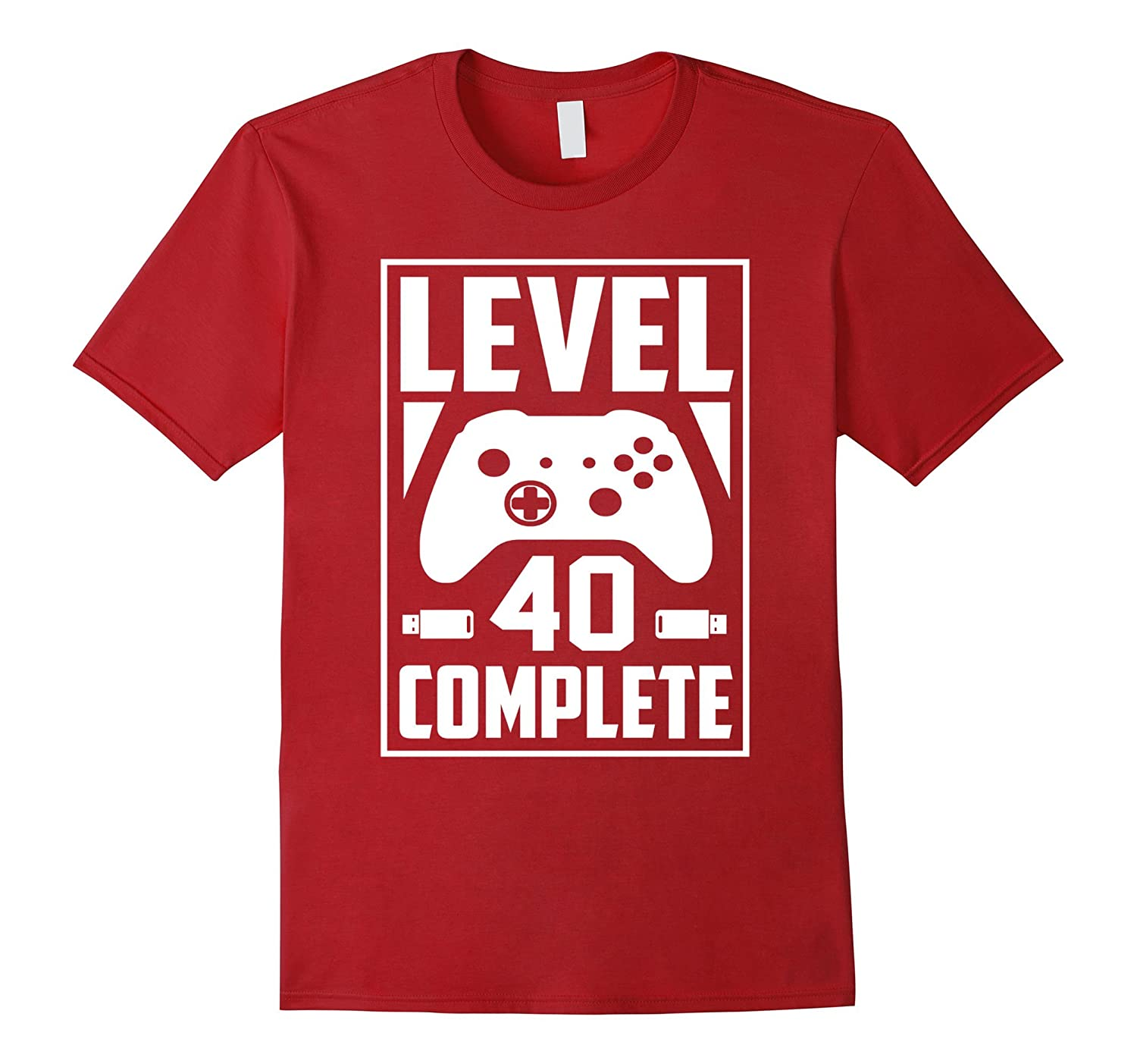 e35d3698 Level 40 Complete Video Gamer Geek 40th Birthday Gift Shirt-BN ...
