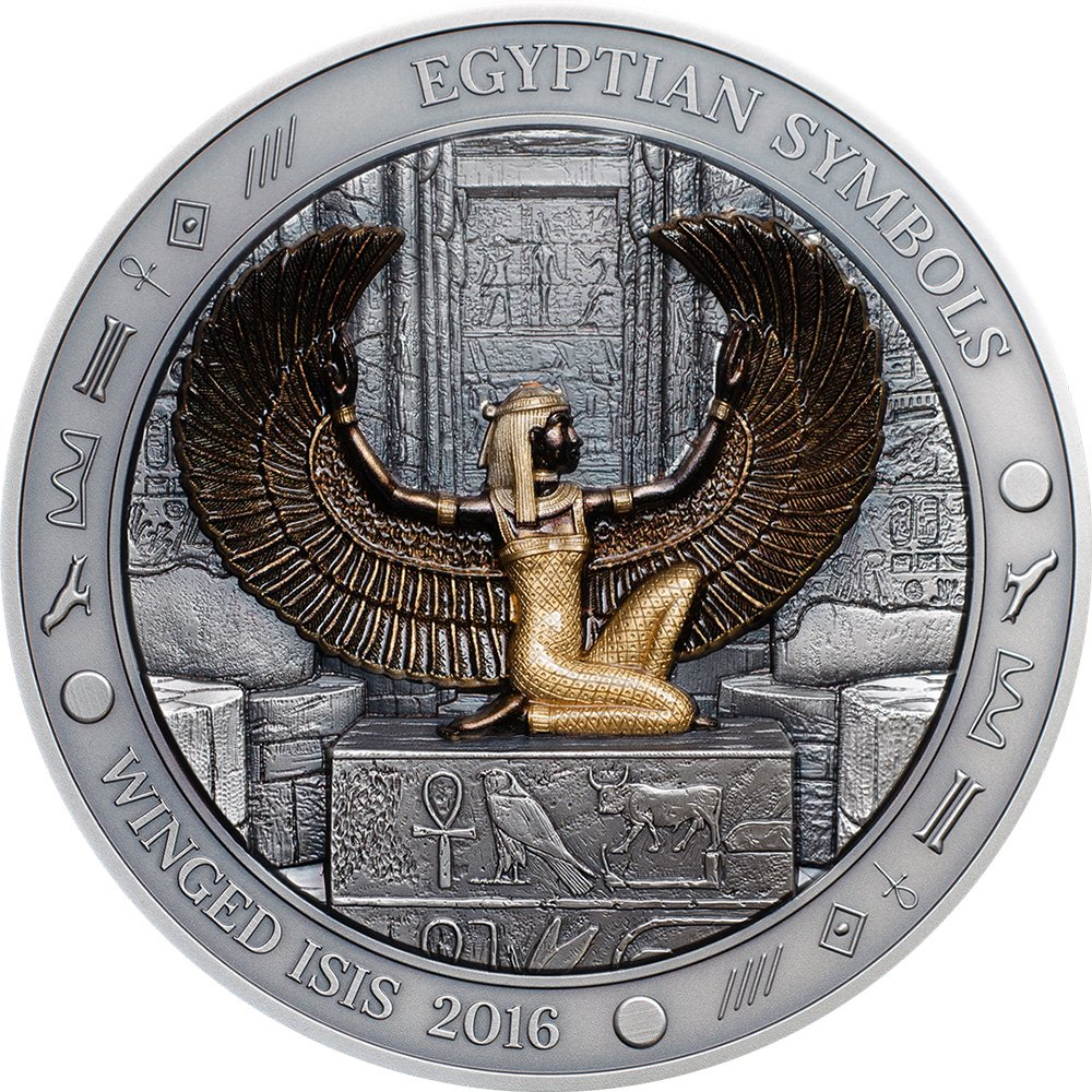 2016 Pw Egyptian Symbols Winged Isis 3 Oz Silver Coin 20 Palau 2016