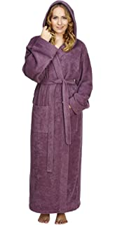 4b799c1321 Arus Women s Pacific Style Full Length Tall Hooded Turkish Cotton Bathrobe