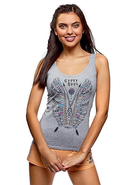 oodji Ultra Mujer Pijama de Algodón con Estampado Étnico, Gris, ES 36 / XS