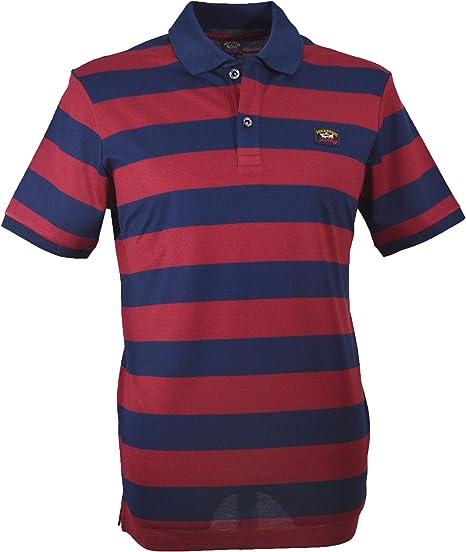 PAUL & SHARK C0P1012 - Polo para Hombre, Color Azul y Rojo: Amazon ...