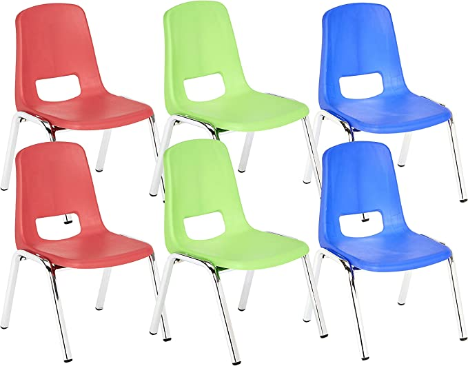 6-Pack Navy ECR4Kids 16 School Stack Chair Chrome Legs with Ball Glides