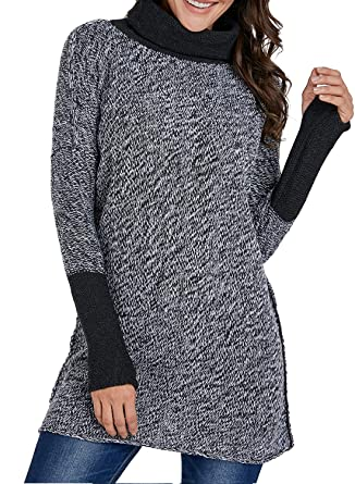 4e81f559ec4 FARYSAYS Women's Turtleneck Long Sleeve Chunky Knit Pullover Sweater Tunic  Tops at Amazon Women's Clothing store: