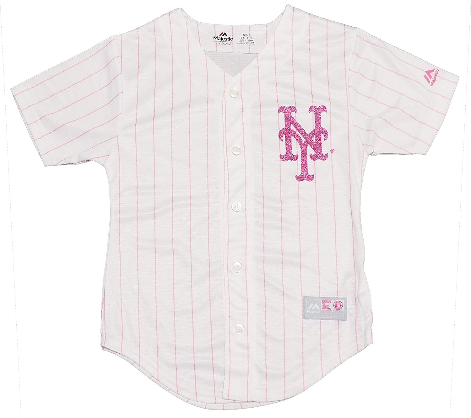 outlet store 933c0 94e45 Amazon.com: New York Mets Blank Girls Youth White Pink Cool ...